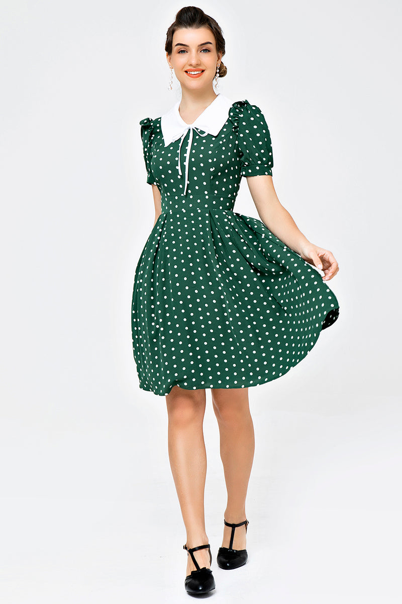 Load image into Gallery viewer, Retro Style Polka Dots Green Swing Dress