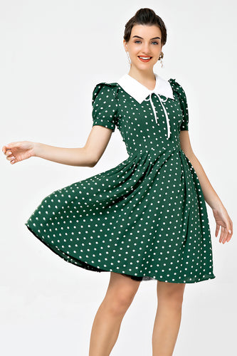 Retro Style Polka Dots Green Swing Dress