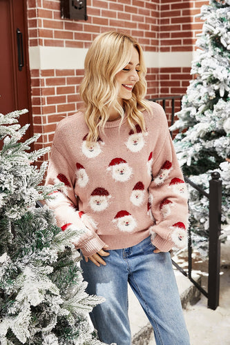 Pink Long Sleeves Christmas Sweater