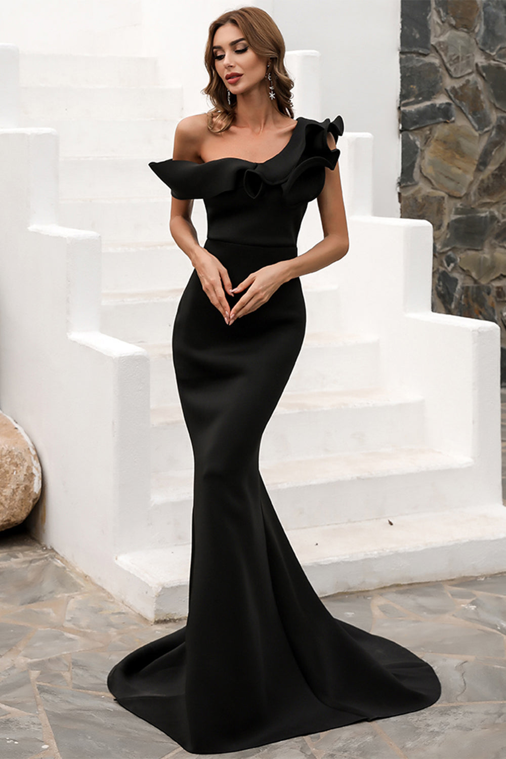 One Shoulder Mermaid Black Formal Dress