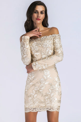 Champagne Lace Long Sleeves Bodycon Dress