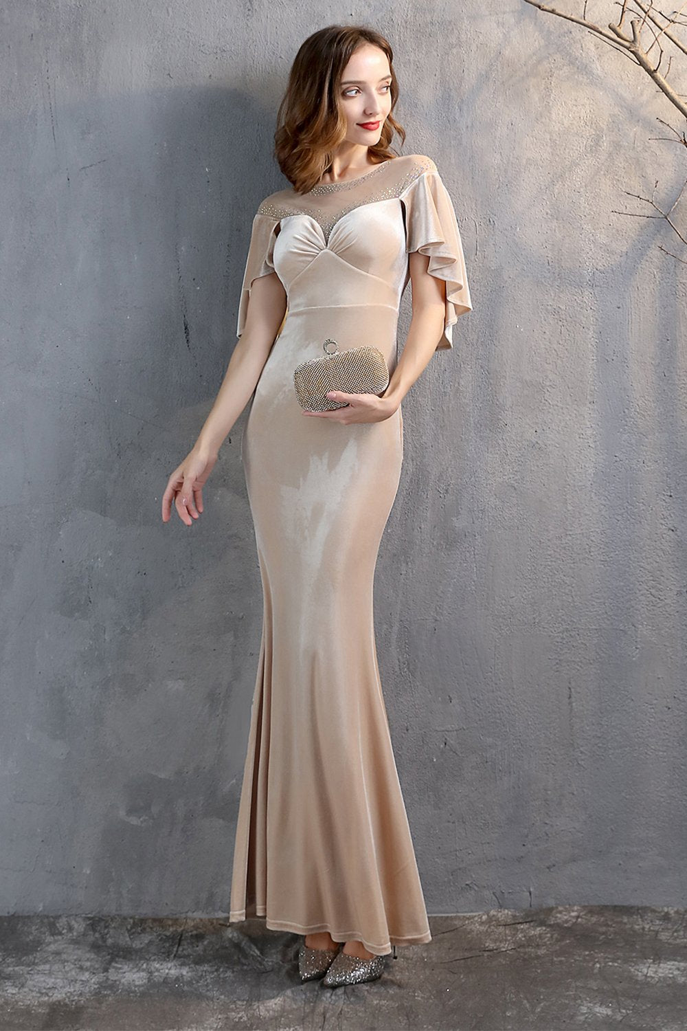 Champagne Velvet Mermaid Long Formal Dress