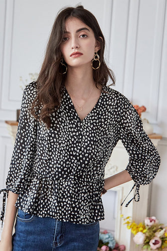 Black Tiny Floral Blouse