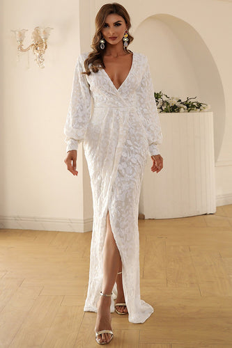 White V Neck Lace Maxi Boho Dress