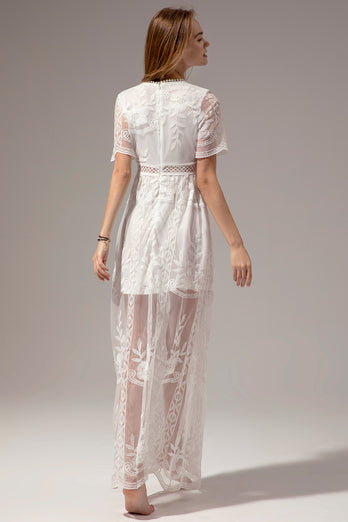 White Lace Summer Boho Maxi Dress