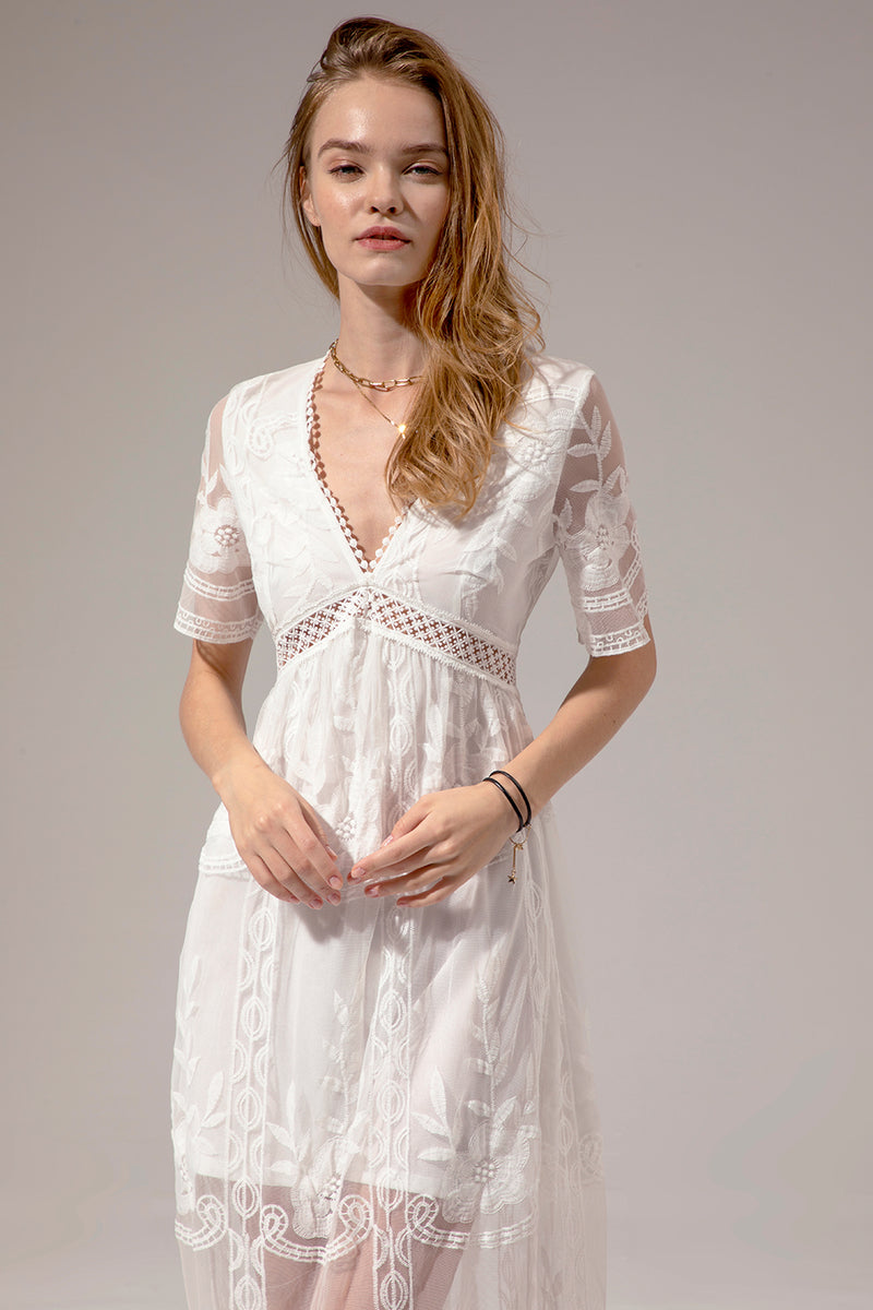 Load image into Gallery viewer, White Lace Summer Boho Maxi Dress