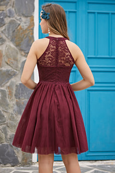 Solid Halter Lace Dress