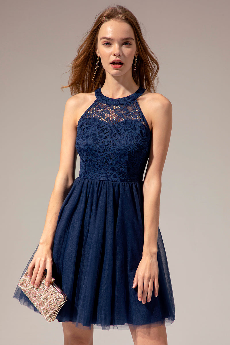 Load image into Gallery viewer, Solid Halter Lace Dress