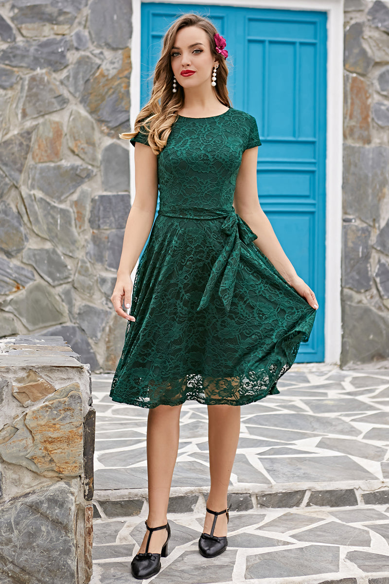 Load image into Gallery viewer, Green Lace Midi Dress