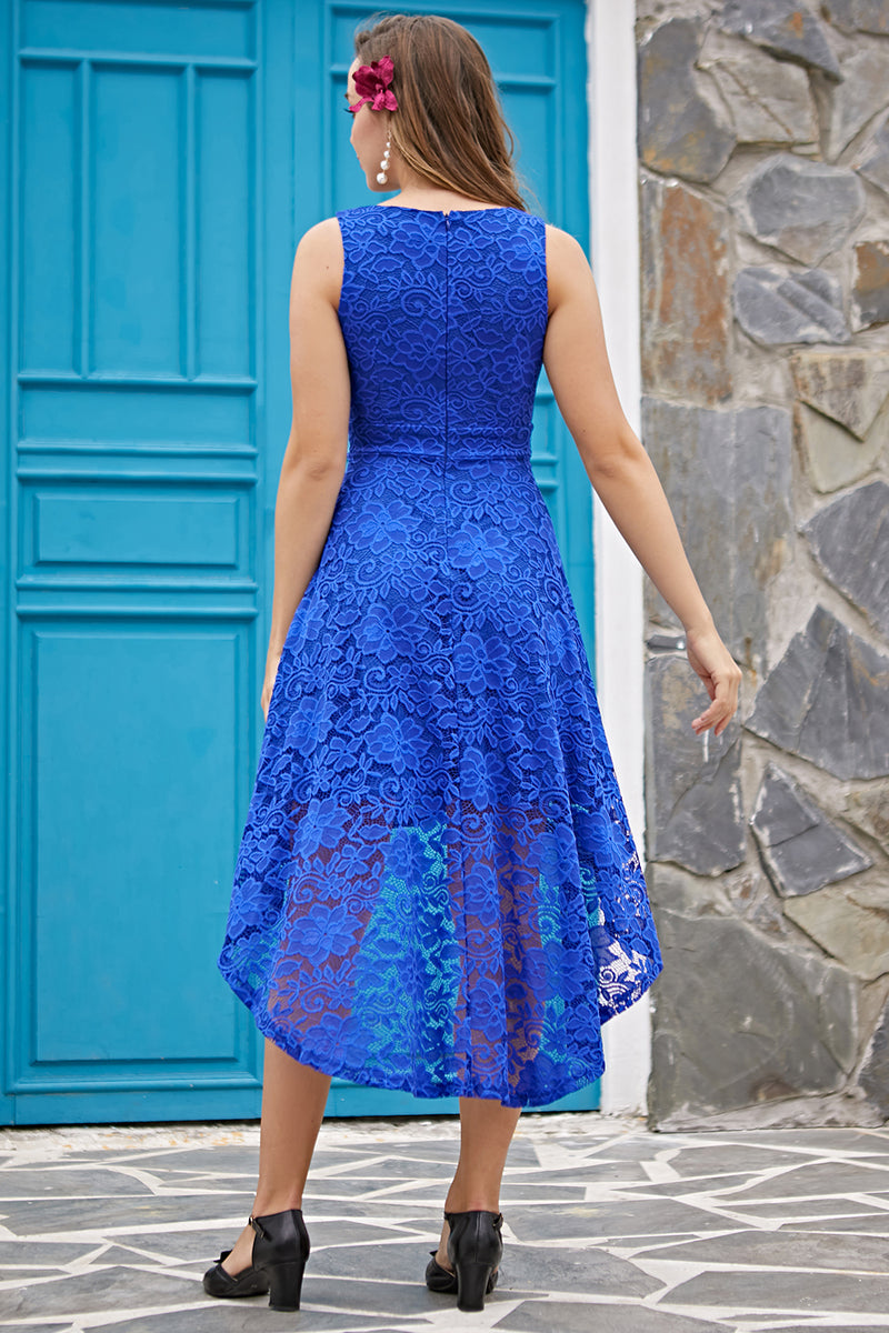 Load image into Gallery viewer, Royal Blue V-Neck Lace Dress