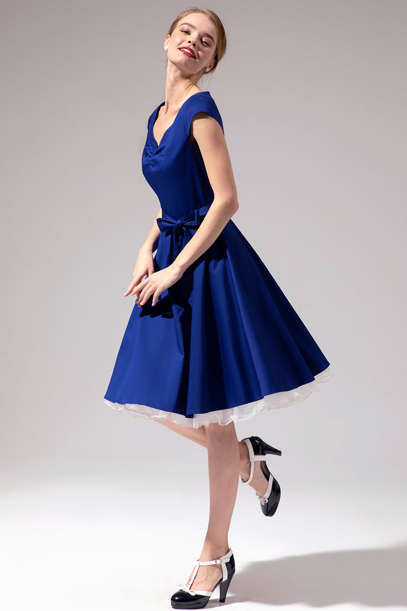 Load image into Gallery viewer, 1950s Royal Blue Dress