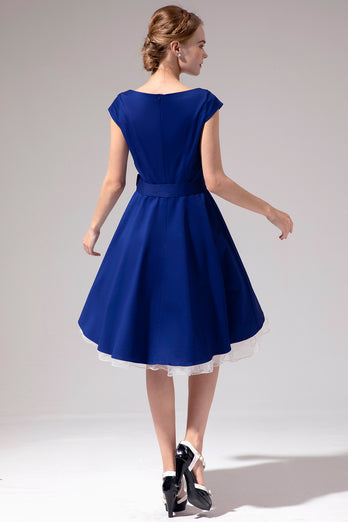 1950s Royal Blue Dress
