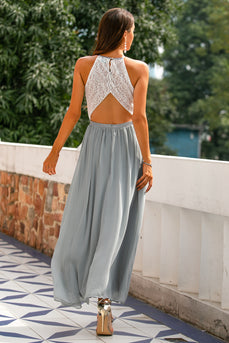 Grey Open Back Long Formal Dress