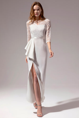3/4 Sleeved Bridal Dress with Lace