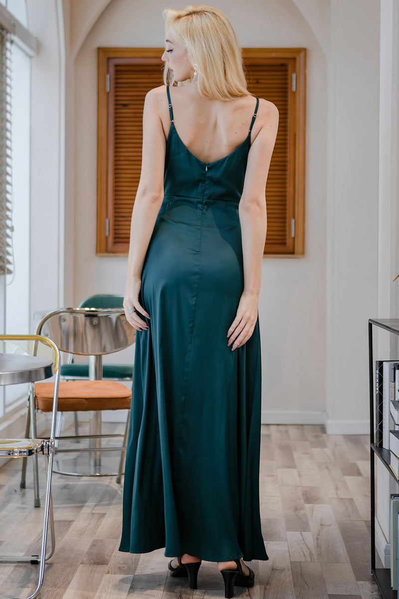 Load image into Gallery viewer, Dark Green Simple Long Bridesmaid Formal Dress