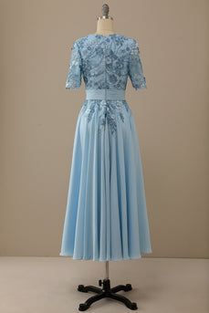 V Neck Blue Mother of Bridal Dress with Appliques