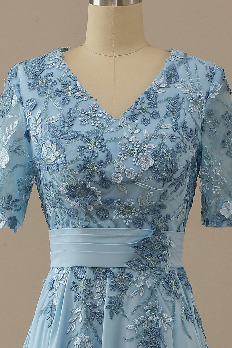 Load image into Gallery viewer, V Neck Blue Mother of Bridal Dress with Appliques