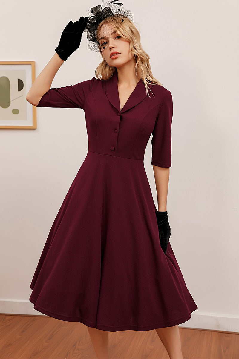 Load image into Gallery viewer, Burgundy Midi Vintage Dress