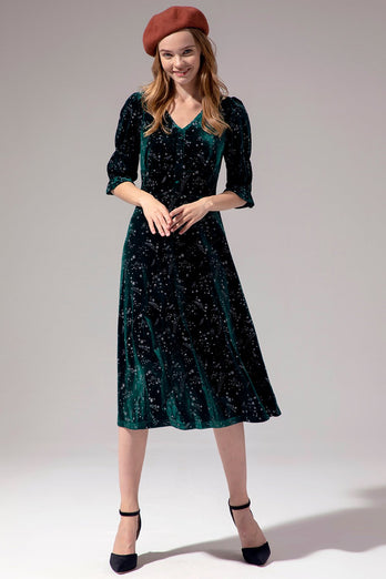 Green Half Sleeve Midi Dress