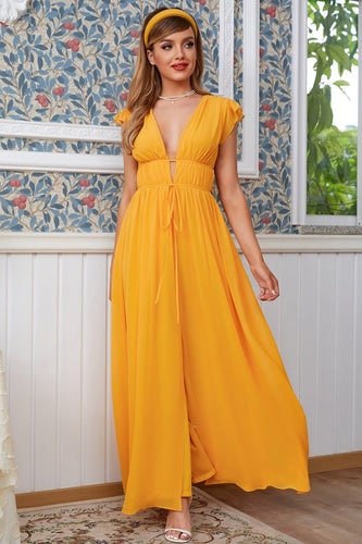 Yellow Maxi Boho Bridesmaid Dress