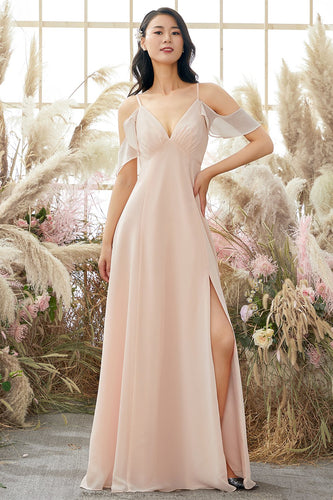 Pink Off Shoulder A line Bridesmaid Dress