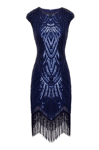 Navy Sequin 1920s Fringe Flapper Dress