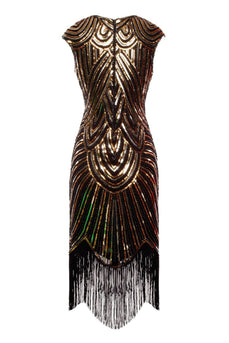 Gold Gatsby Glitter Fringe 1920s Dress