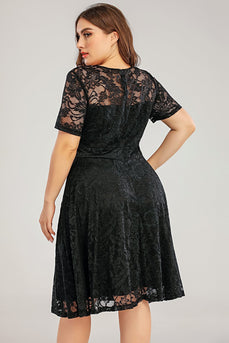 Black Lace Plus Size Formal Dress