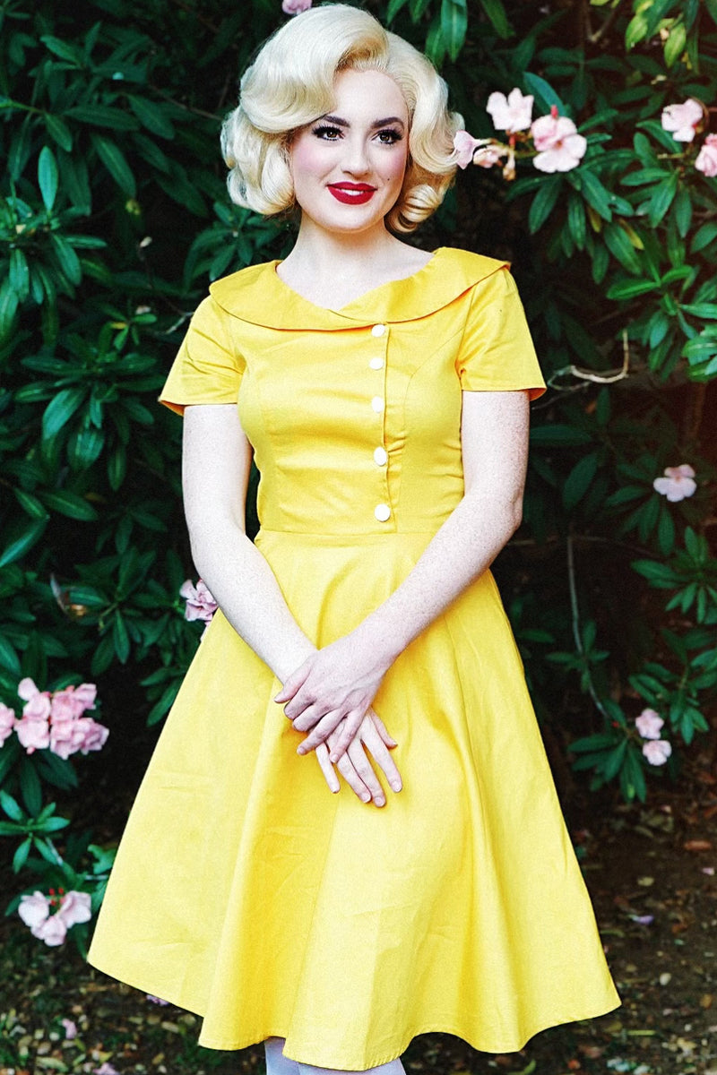 Load image into Gallery viewer, Yellow Button Dress