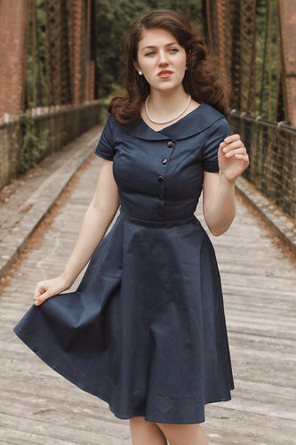 Navy Blue Button Dress