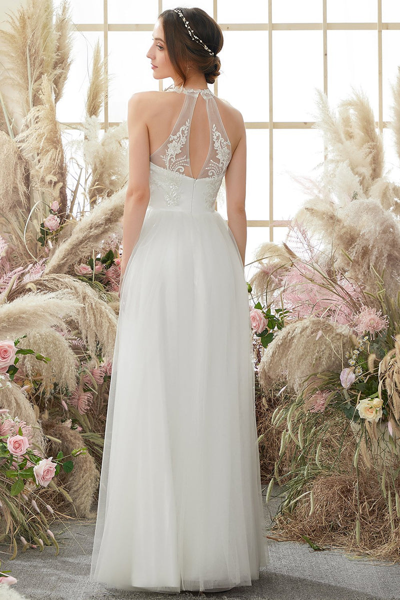 Load image into Gallery viewer, White Halter Neck Wedding Dress