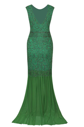 1920s Green Flapper Glitter Dresses