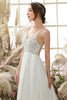 Load image into Gallery viewer, V neck Blackless Wedding Dress