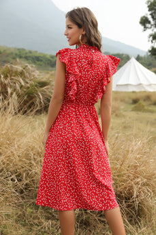 Red Ruffled Midi Boho Dress