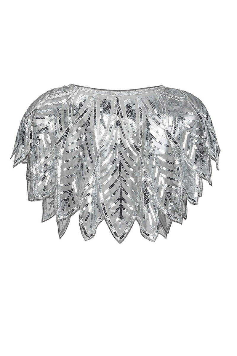 Load image into Gallery viewer, Silver Sequin Glitter 1920s Cape