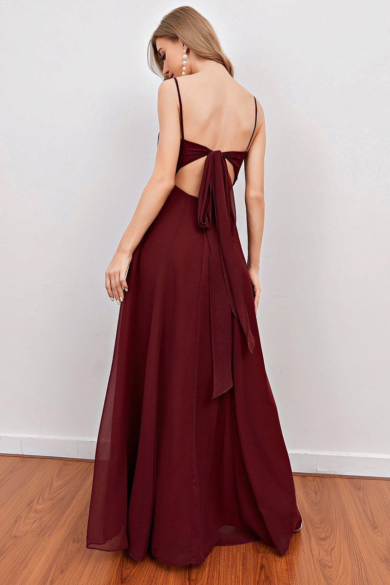 Load image into Gallery viewer, Burgundy Spaghetti Straps Long Bridesmaid Dress with Split
