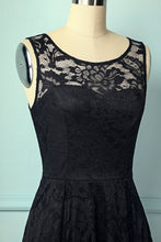 Load image into Gallery viewer, Black Asymmetry Lace Dress