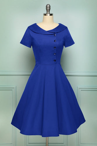 Blue Button Dress - ZAPAKA