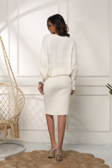 White Bodycon Knit Dress