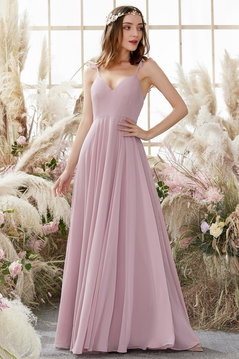 Load image into Gallery viewer, Blush Spaghetti Straps Chiffon Bridesmaid Dress
