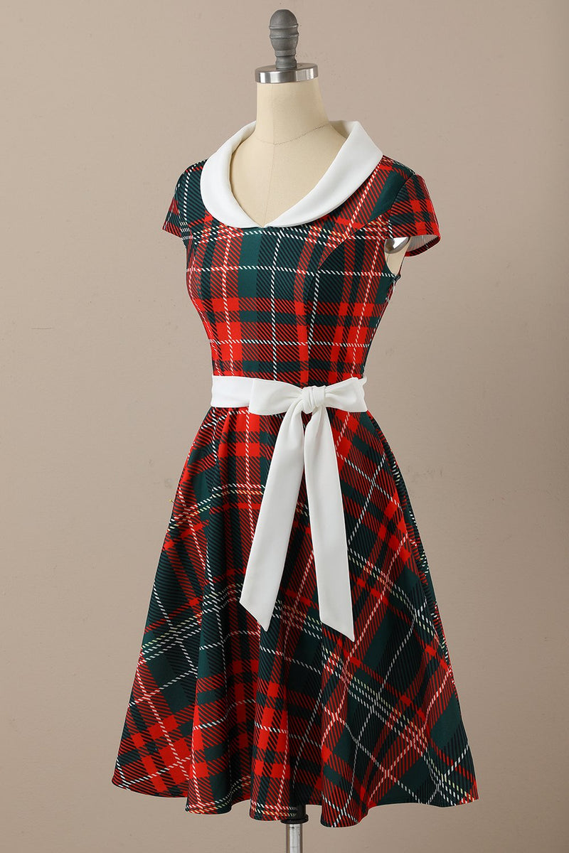 Load image into Gallery viewer, 1950s Red Scoop Plaid Flod Swing Dresss