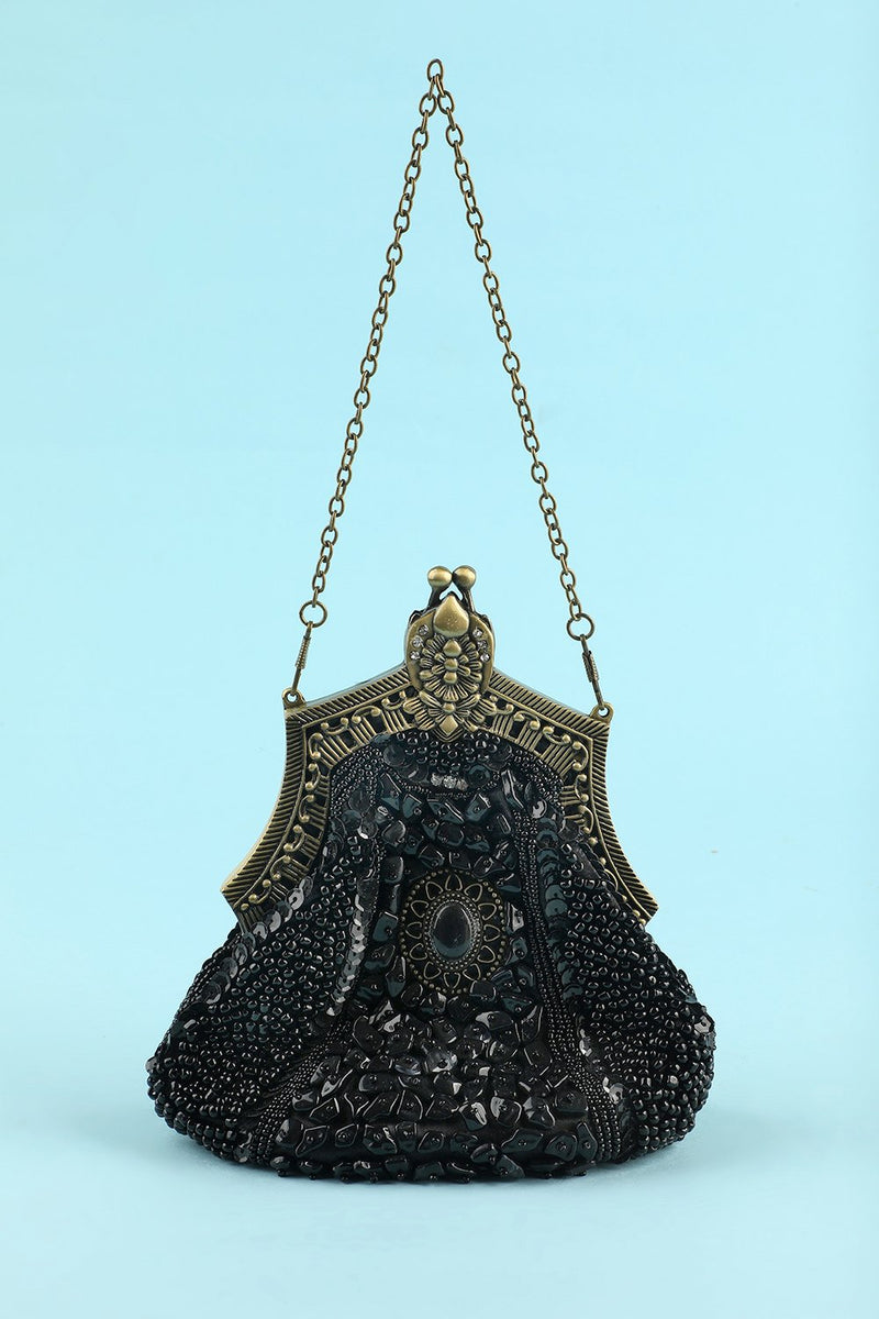 Load image into Gallery viewer, Black Vintage Evening Bag