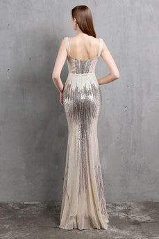 Gold Mermaid Sequin V Neck Formal Dress