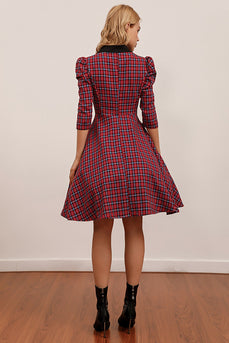 Red Plaid Knee Length Vintage Dress