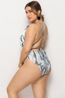 Plus Size Grey Printed One Piece Swimsuits