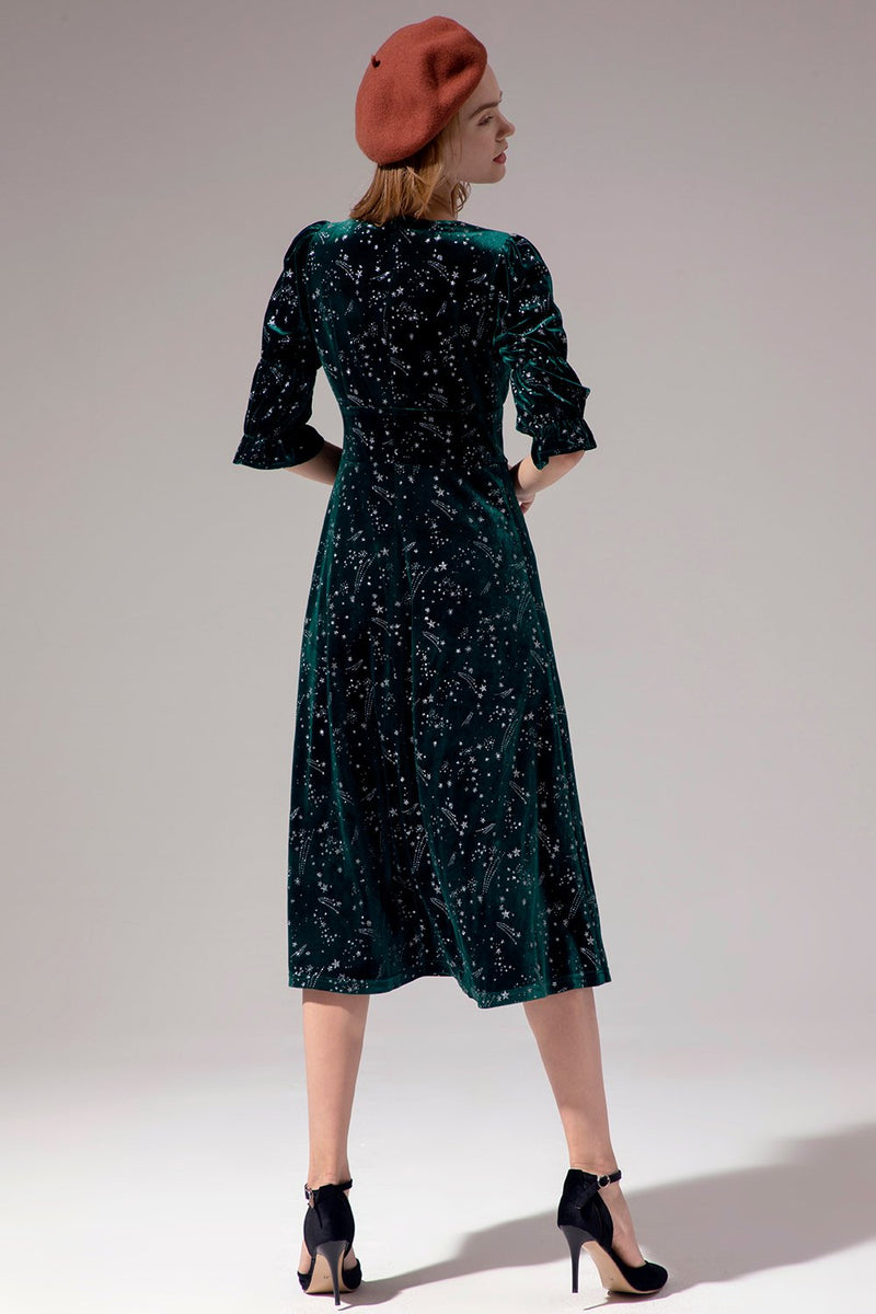 Load image into Gallery viewer, Green Half Sleeve Midi Dress