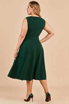 Dark Green Plus Size Vintage Swing Dress
