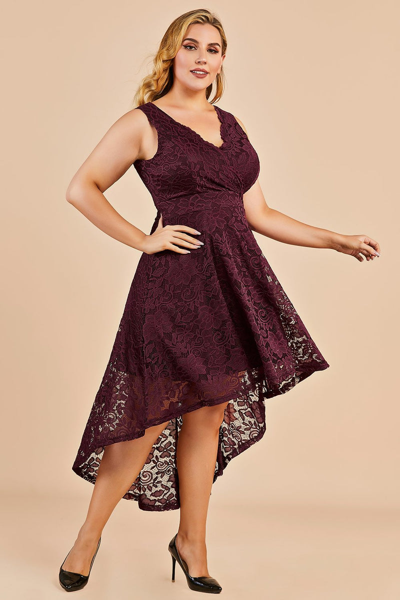 Load image into Gallery viewer, High low Burgundy Lace Plus Size Dress
