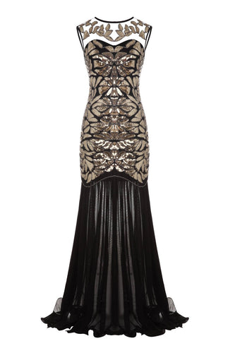 Black 1920s Flapper Glitter Dresses
