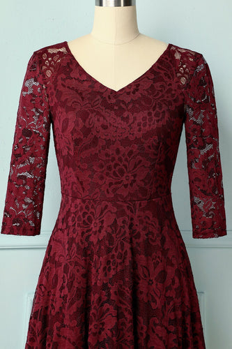 Dark Red Lace Midi